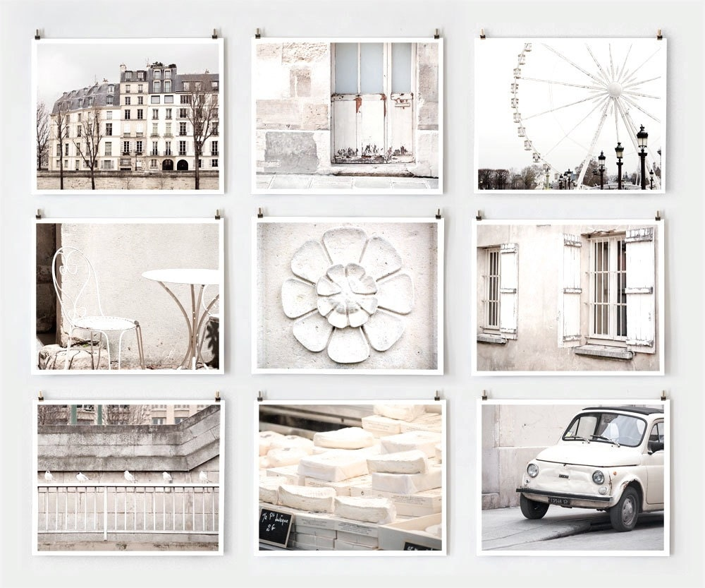 Photography Wall Art fine art photography, paris gallery wall art prints, white paris