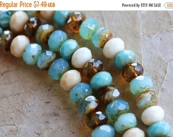 10% off BREEZE .. 25 Picasso Mix Czech Rondelle Beads 6x9mm (4881-st)
