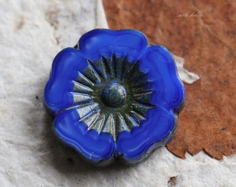 COBALT PANSY No. 2 .. 1  Picasso Czech Glass Flower Beads 22mm (5239-1)