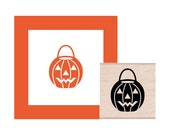 Halloween Pumpkin Bucket Rubber Stamp