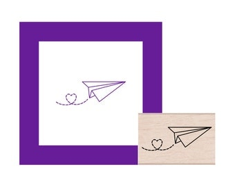 Paper Airplane with heart trail Rubber Stamp