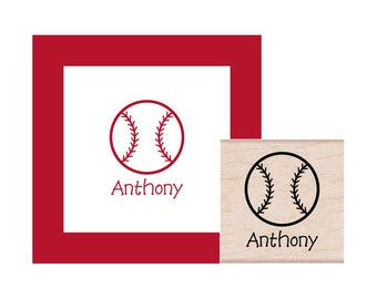 Baseball Personalized  Rubber Stamp