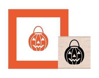 Halloween Pumpkin Bucket Rubber Stamp