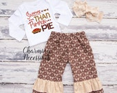 Fall Thanksgiving Outfit, Baby Toddler Girl Clothes, Top and Ruffle Pants Set in Sweeter Than Pumpkin Pie by Charming Necessitie