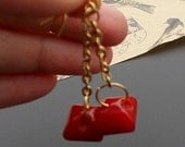 ON SALE Vintage Button Earrings Red Bakelite Long Gold Tone Chian Drop Dangle Repurposed Jewelry