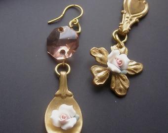 Mini Spoon Earrings, Ceramic Flower Earrings, White Rose Earrings, Asymmetrical Earrings, Pink Chandelier, Dangle  Crystal Earrings