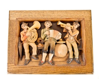 Anri Wood Music Box Carved Musicians Sound Of Music