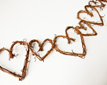 Grapevine Twig Heart Garland Banner, Wedding, Anniversary, Baby Shower