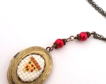 ON SALE Pizza Lovers Cross stitch Locket necklace- xstitch fiber art wearable art  crossstitch Food Kitsch TMNT Yummy