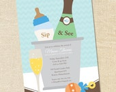 Sweet Wishes Boys Champagne Baby Shower Sip & See Invitations - PRINTED - Digital File Also Available