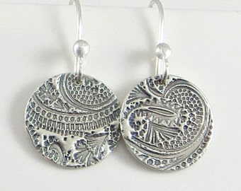 Tiny Disc Earrings, Textured Earrings,Fine Silver Earrings, Disc Earrings, Rustic Jewelry Paisleyl Earrings, PMC Jewelry Gifts for Her