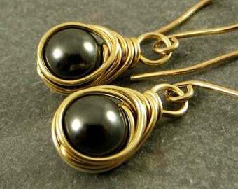 Wire Wrapped Black Pearl Earrings 14K Gold Fill Gifts for Her Eco Friendly Jewelry