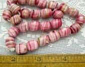 Vintage Glass Beads, Candy Cane Nuggets, Pink Swirl Beads, Large Loose Beads for Jewelry Making, Bead Craft Supplies Beads Vintage 6