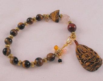 Tiger eye Kuan Yin meditation beads