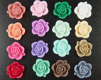 Cabochon Flower 4 Resin Round Rose Flower Opaque 15mm CHOICE color Blue Pink Orange Red Blue White Purple (1013cab15m6)