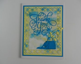Thank you card yellow and turquoise with handbag and heels