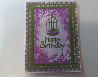Birthday Card purple and green with birdcage.