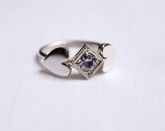 Sterling silver ring with lavender Gemstone Solitaire Ring, Sterling silver, Birthstone, Promise Ring, Heart ring 5mm Stone