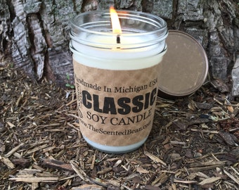 Red Cedar    - 8 oz. Scented Soy Candle - Classic Jelly Jar Soy Candle, Woods, Gift Idea, Candles, Soy Candles