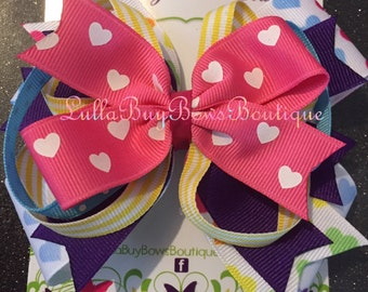 Large Layered Mutli-Color Heart Bow