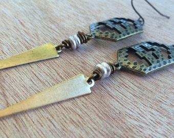 E489 Tribal Gold and Silver Dangle Earrings