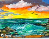 Beach Wave Original painting Collectible aceo art trade card Florida paradise KeROBinson
