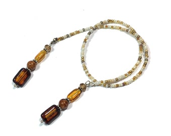 Topaz beaded Bookmark Tan and Brown bookmark