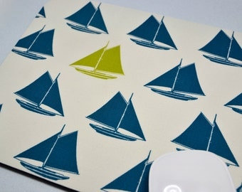 Buy 2 FREE SHIPPING Special!!   Mouse Pad, Fabric Mousepad    Navy & Lime Sailboats