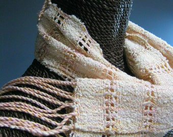 Handwoven Lace Scarf in Silk and Cotton: I'm Blushing