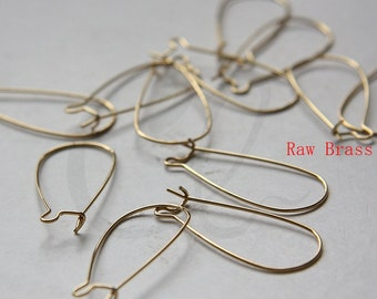 40pcs (20 Pairs) Raw Brass Brass Base Earring Hooks-kidney 33x14mm (328C-i-486)