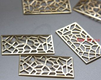 10pcs Raw Brass Filigree Rectangle Link - 45.5x23.5mm (3074C-M-250)