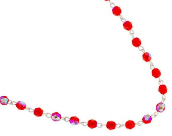 One Meter (3.28 Feet) Czech Glass Beaded Chain-Siam AB with Silver Link 5mm (5015)