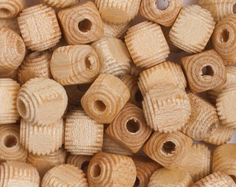 100 Pieces Wood Beads - Square - Cube - Natural 9mm (1002)