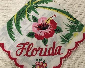 Vintage Souvenir Florida State Handkerchief