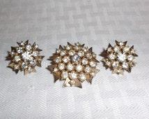 1960s Vintage Rhinestone Maltese Cross Brooch and Earrings Demi Parure Screw Back Style