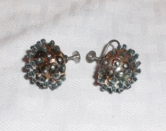 1960s Vintage Atomic Blue Beads and Sequins Earrings Screw Back Style