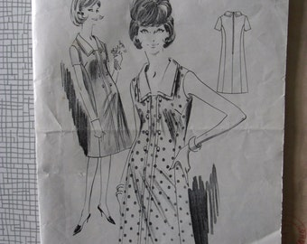 "1964 Dress - 36"" Bust - Woman's Weekly B 227 - Vintage Retro 1960s Sewing Pattern"