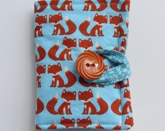 Tea Wallet , Tea Bag Holder, Cute Accessory, Purse Accessory, Cinnamon Foxes on Aqua