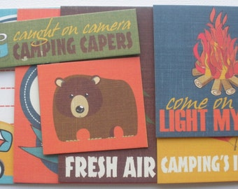 GREAT OUTDOORS - Journal Cards - Chipboard Die Cuts - Camping Pictures, Journaling Embellishments - 12 Pieces