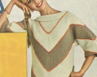 SALE Vintage 1960s Chevron Stripe Pullover Knitting Pattern PDF 6204
