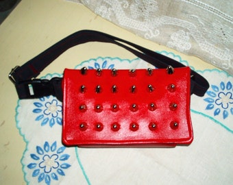 Vegan Friendly Red Vinyl Small Cone Studded Hip Bag Fanny Bag Punk Rocker Chic Adjustable Ginas Creations Original
