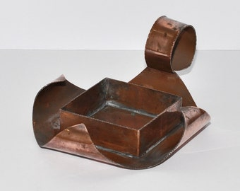 Arts & Crafts Copper Chamber Candle Holder, Signed