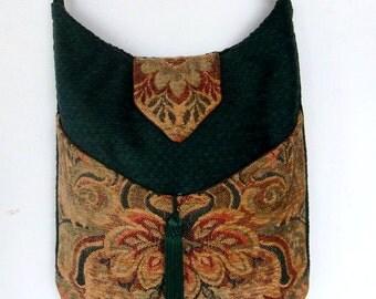 Tapestry Clover Green Bag Messenger Bag Bohemian Green Chenille  Gypsy bag renaissance bag messenger bag medieval bag