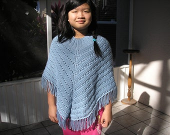 Knitted Poncho, Junior Girl - Soft Blue