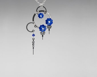 Steampunk Pendant, Sapphire Swarovski Crystal, Swarovski Necklace, Vintage Watch Parts, Crystal Jewelry, Youniquely Chic, Asteria v14
