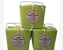 BLK FRI Warm Vanilla Sugar Handmade Bath Salts 5oz - phthalate free,lime green box,ivory ribbon,vegan,natural, moisturizing,scented, fragran