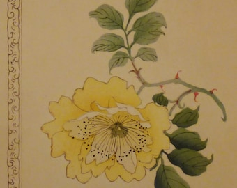 ASIAN Antique BOTANICAL ROSE Yellow Flower Print from  1800s Rare app. Hsnd painted  10 1/2x 7 5/8 in