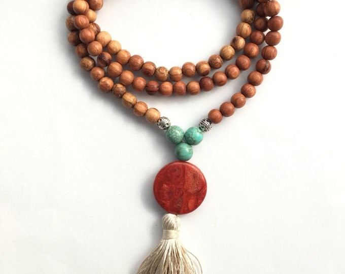 southwest 108 bead traditional mala necklace with silk tassel, tassel necklace, long necklace, southwest style jewelry, wood necklace, yoga