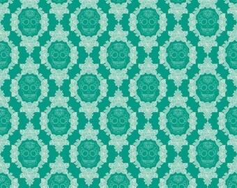 SALE ~ Teal Skulls ~ La Vie Boheme ~ Boho Gypsy fabric ~ 100% woven cotton by the yard