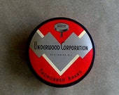 Vintage Typewriter Ribbon Tin | Thorobred Brand | Underwood | Black and Red Art Deco